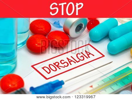 Stop dorsalgia. Vaccine to treat disease. Syringe and vaccine with drugs.