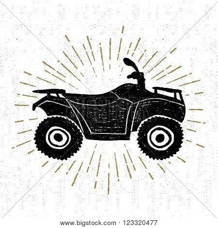 Hand drawn textured icon with quad bike vector illustration.
