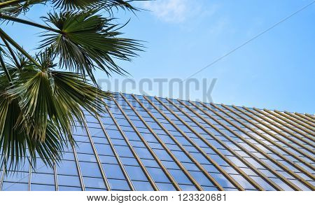 Los Angeles, California, USA . January 16, 2016: Walk of Fame at sunset on Hollywood Boulevard, abstract view of a building