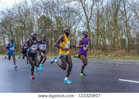 The Hague, the Netherlands - March 6, 2016: Kenyan runners participating in The Hague CPC half marathon.