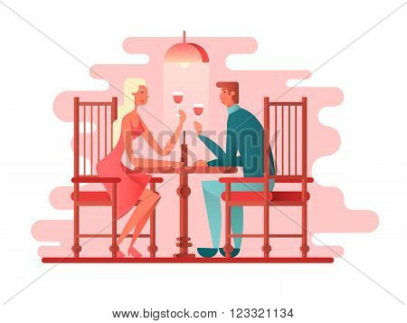 Romantic dinner a couple of lovers. Woman and man love, restaurant dating, vector illustration