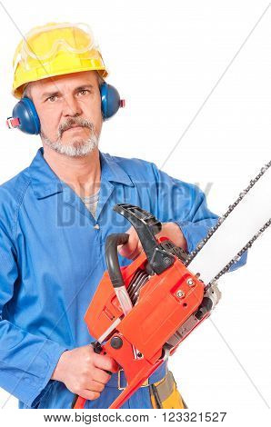 Adult sawyer with gasoline-powered chainsaw isolated on white background