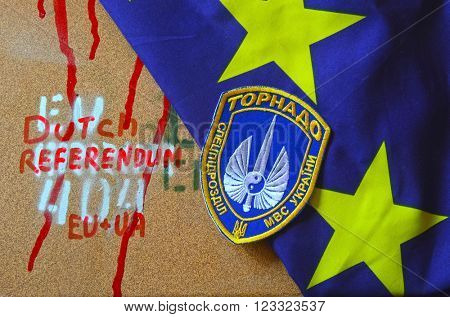 Kiev,Ukraine.FEB 20.ILLUSTRATIVE EDITORIAL.Chevron Ukrainian chastener nazionalist battalion Tornado in Police.The battalion disbanded for looting,rape and torture.February 20,2016 in Kiev, Ukraine