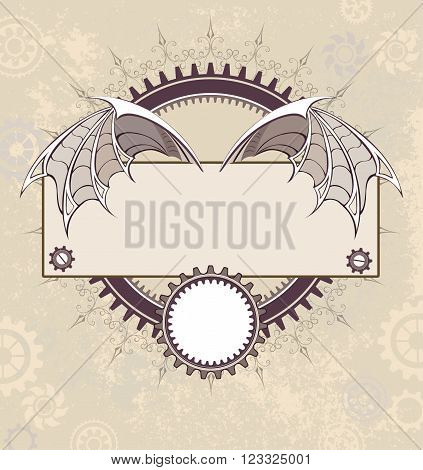 Rectangular banner decorated with steampunk mechanical wings dragon on textural background with the gears.