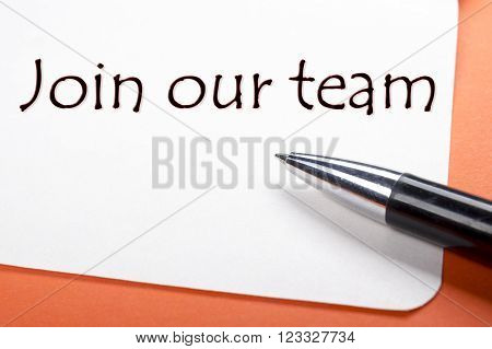Join our team. Office desk table with notepad, pen. Top view