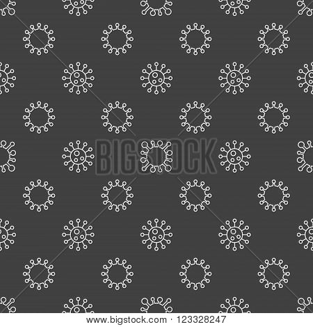 Bacterium seamless pattern - vector dark virology or microbiology background made with linear bacteria symbols