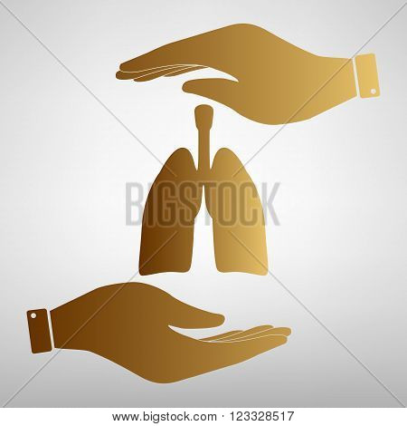 Human organs. Lungs sign. Save or protect symbol by hands. Golden Effect.