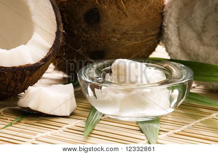 Coconut fruint and oil. spa, alternative medicine poster