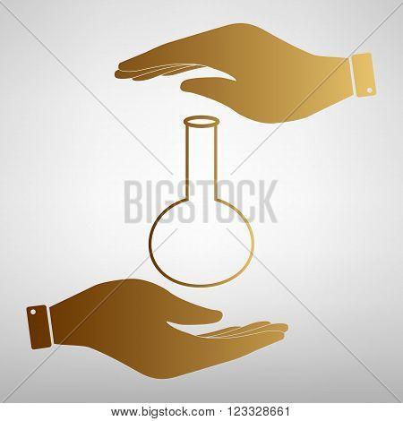Tube. Laboratory glass sign. Flat style icon vector illustration.