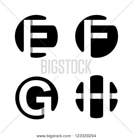 Capital letters E, F, G, H. From white stripe in a black circle.  Overlapping with shadows. Logo, monogram, emblem trendy design.