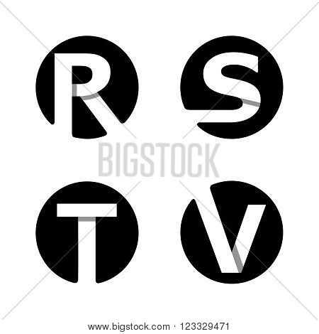 Capital letters R, S, T, V. From white stripe in a black circle.  Overlapping with shadows. Logo, monogram, emblem trendy design.