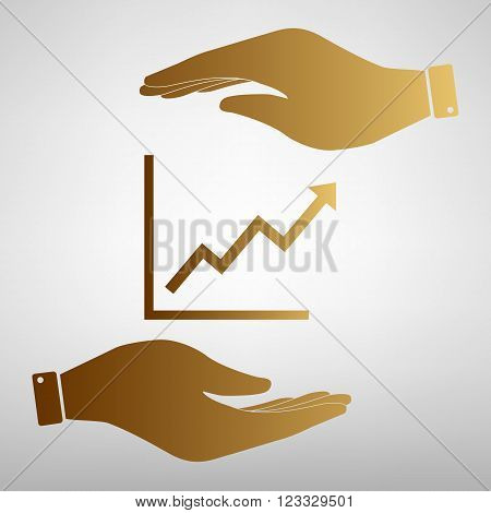 Growing bars graphic sign. Save or protect symbol by hands. Golden Effect.