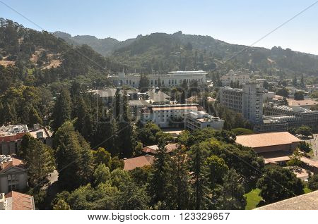 Berkeley,California,USA - August 27, 2012 : View of Berkeley and its hills from the top of the Campanile