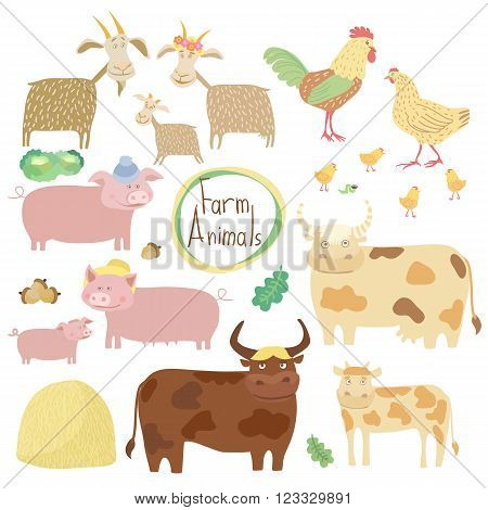 Cute farm animals on white background. Cartoon cow, horse, pig, chicken and other animals. Vector farm animals. Farm animals set. Cartoon farm animals characters illustration. Funny Animals. Isolated farm animals. Differet vector animals.