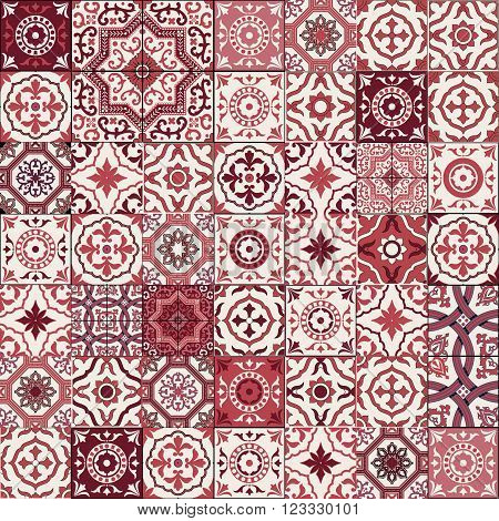 Mega Gorgeous seamless patchwork pattern from dark red and white Moroccan, Portuguese  tiles, Azulejo, Arabic ornament. Islamic art. Can be used for wallpaper, pattern fills, web page background, surface textures. poster