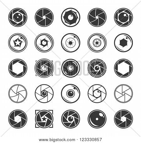 Camera Shutter And Lenses Icons Isolated On White