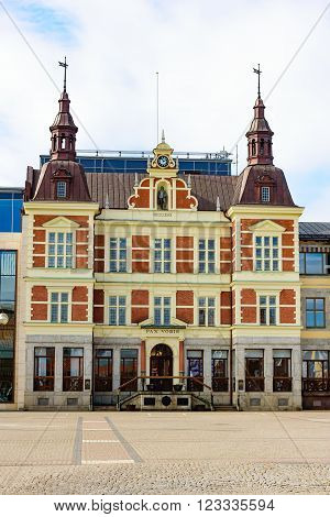 Kristianstad Sweden - March 20 2016: The town hall or city hall where the towns political administration is. Here seen from across the empty town square.
