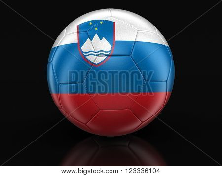 Soccer football with Slovene flag. 3D Image with clipping path