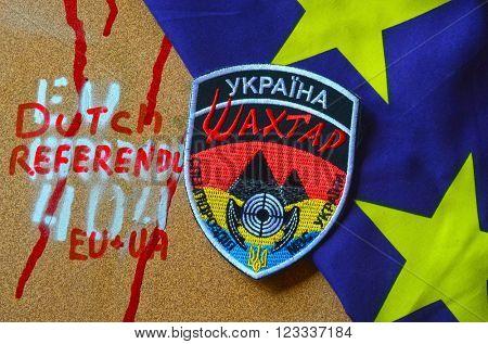 Kiev,Ukraine.FEB 20.ILLUSTRATIVE EDITORIAL.Chevron Ukrainian chastener nazionalist battalion Miner in Police.The battalion disbanded for looting,rape and torture.February 20,2016 in Kiev, Ukraine