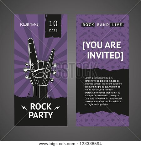 Invitation on a rock party. Document template with  a music illustration.