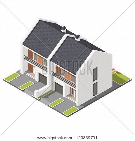 One storey connected cottage with slant roof for two families isometric icon set vector graphic