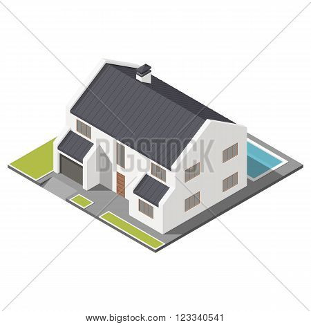 Modern two-story house with slant roof sometric icon set vector graphic