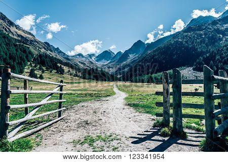 mountain gate south tyrol, suedtirol, italy, texelgruppe,  fence