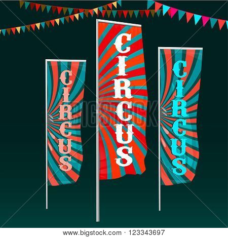 Vector vintage circus background with flags in bright red, white and blue colors with colorful garlands. Editable retro illustration useful for a poster, banner