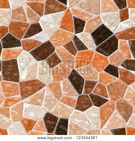 beige brown orange marble irregular plastic stony mosaic seamless pattern texture background with gray grout