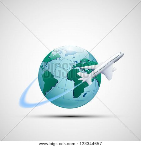 Icon plane flies around the earth planet. Business travel. Stock vector illustration.