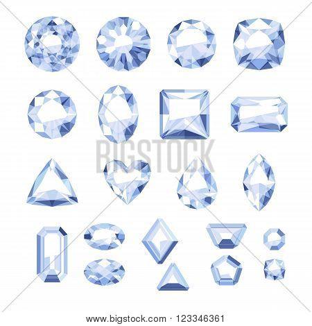 Set of flat style white jewels. Colorful gemstones. Diamonds isolated on white background.