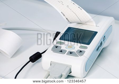 medical equipment for the measurement of ECG closeup cardiology heart health