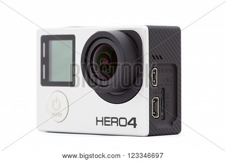 Bangkok, Thailand - March 27, 2016 : Closeup Go-pro hero 4 black extreme sport camera lightweight personal camera manufactured by GoPro Inc.