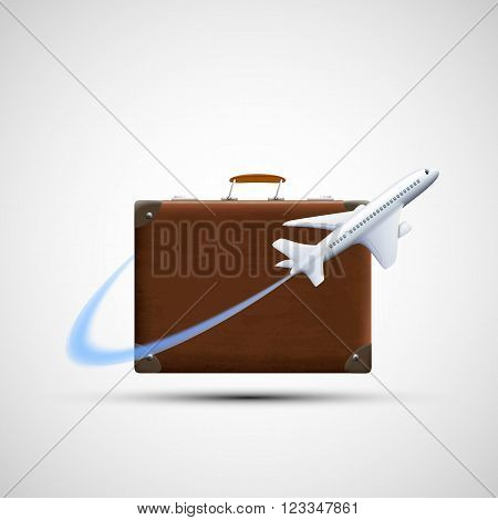 Plane flies round suitcase. Cargo delivery. Icon travel. Isolated on white background. Stock vector illustration.