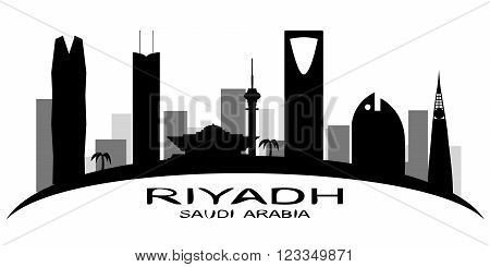 Riyadh Saudi Arabia skyline vector silhouette on white background