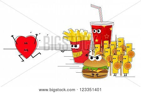Conceptual illustration of a heart running away from an evil fast food army. Eps10