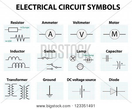 Electronic symbol. Electric circuit symbol element set. Pictogram used to represent electrical and electronic devices.