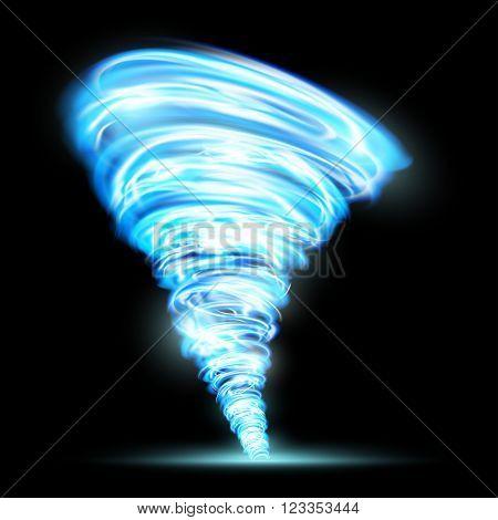 Abstract glowing tornado. Rotating twister. Isolated on a black background. Stock vector illustration.