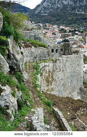 A fragment of an ancient fortress in Kotor, Montenegro