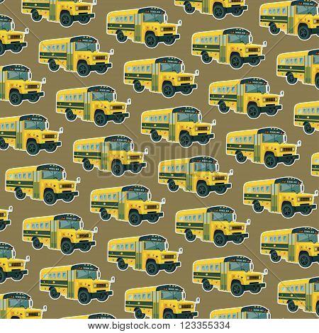 school bus seamless pattern, vector background,vector texture