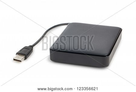 Black external hard disk with cable on white background