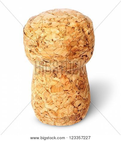 Closeup of champagne cork vertically top view isolated on white background