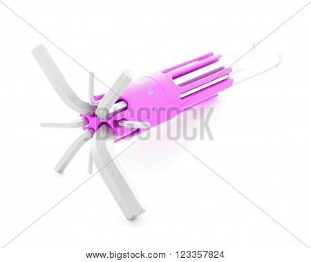 Allen key, chrome tool for industry, isolated, on white background