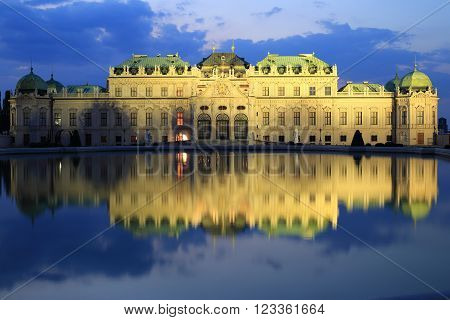 Belvedere palace night shot with reflection, Vienna, Austria