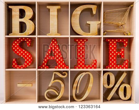Big sale and 50% lettering in wardrobe