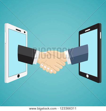 Handshaking businessmen hands from mobile phones on the green background.
