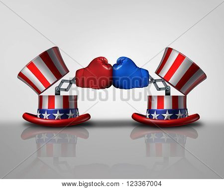 American election fight and political violence concept for campaigning for votes as an open uncle Sam top hat decorated with the flag of the United States and a surprise boxing glove fighting an opponent from the left and right.