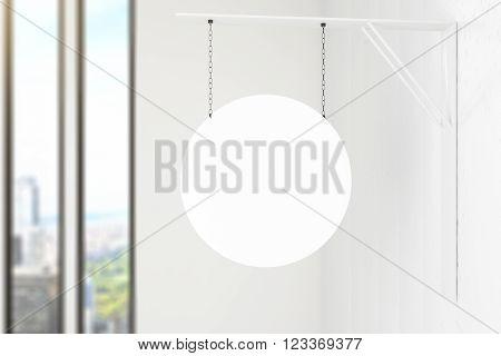 Circular stopper hanging inside white building. Mock up 3D Render