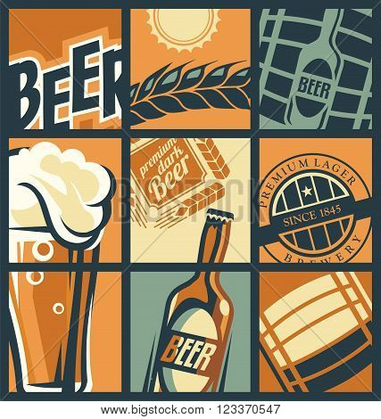 Beer menu concept comic style. Retro pub banner with beer glass and beer signs and emblems. Beer bottle. Beer barrel. Beer label. Dark beer.