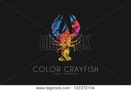 Crayfish logo. Color crayfish logo design. Seafood logo.